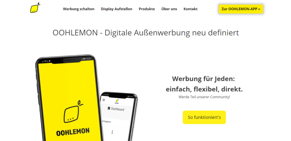 OOHLEMON – die Vermittlungsplattform für digitale Außenwerbung