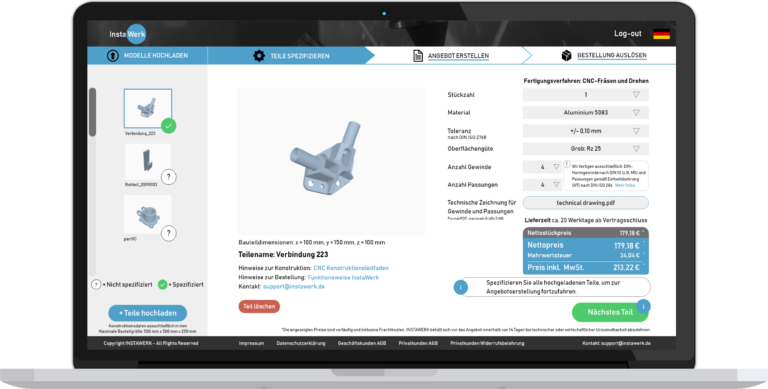 quote X – damit können Fertigungsbetriebe individuelle Bauteile im Internet verkaufen